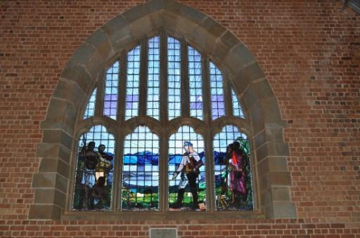 13 Livingstonia Church - Livingstone in stined glass windows