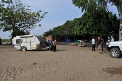 22 Steve using man power and the winch to get out of deep sand at Beach Chambers the last Malawian camp