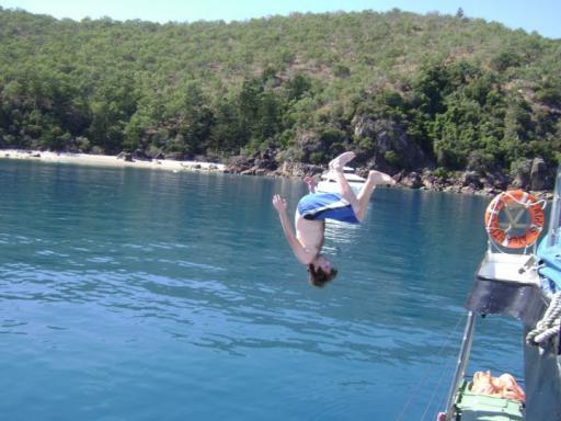 Sommersalt off the atlantic clipper in whitsundays