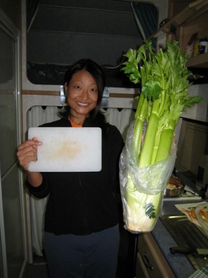 Big celery, small cutting board