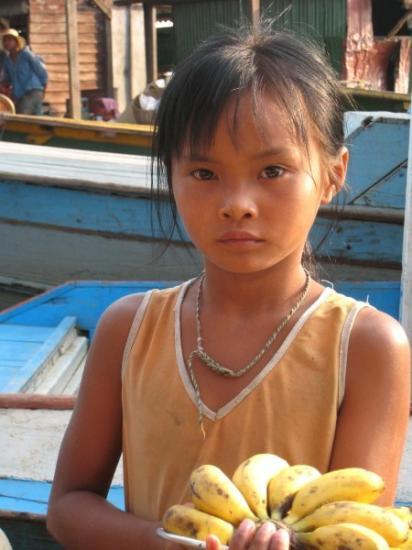 Selling her bananas