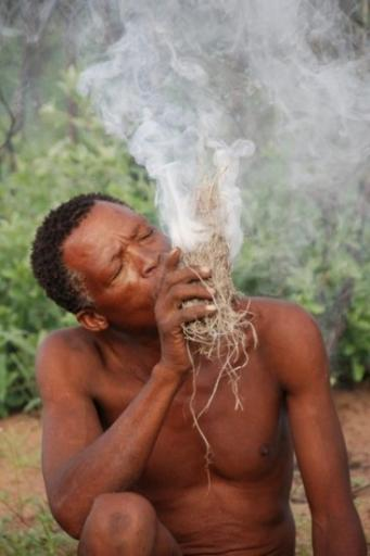 San bushman makes fire