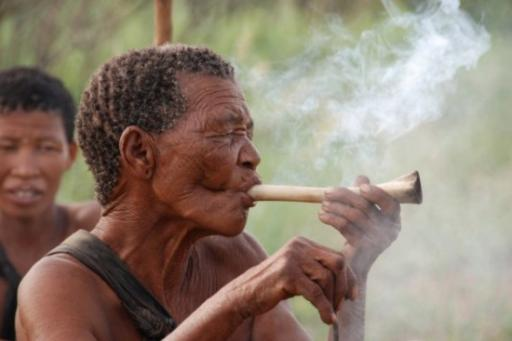 San bushman smokes bone pipe