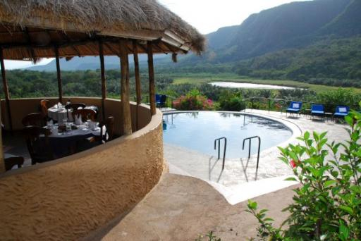 Dinning/pool area with view of lake and mountains