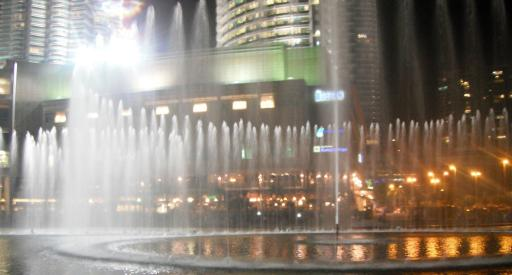 Light & water show outside Suria mall