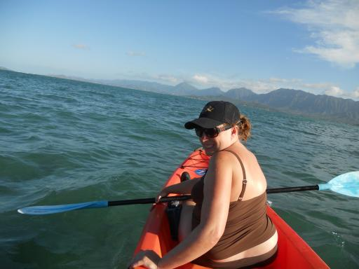 Ann in the front of the Kayak