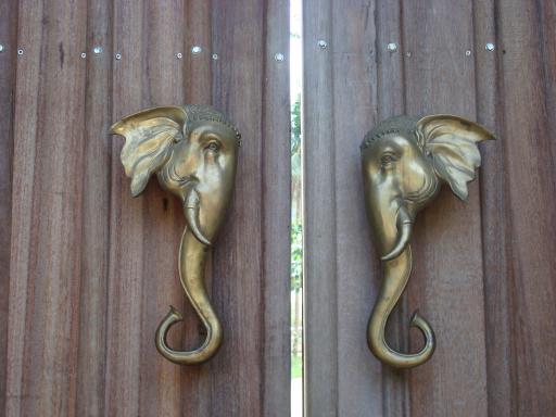 Elephant building door handles
