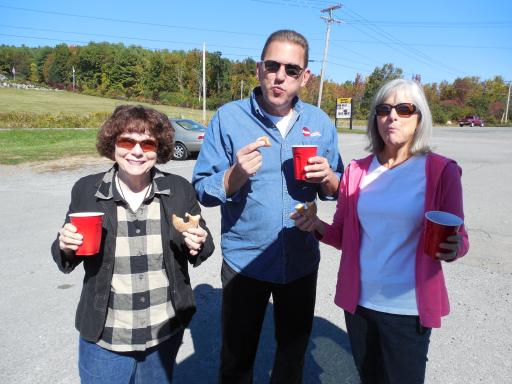 Debbie, Mary, & Bill With Cider & Doughnuts.  Yum!