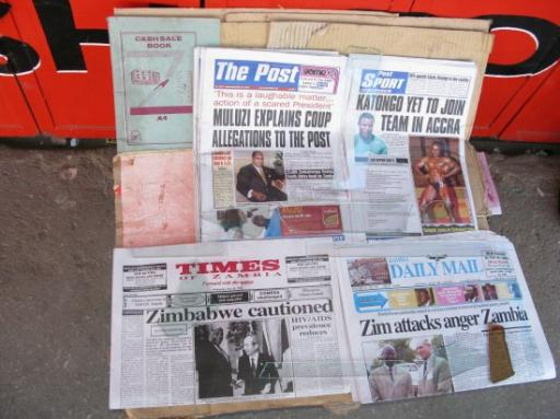 Newspaper headlines in Lusaka, Zambia
