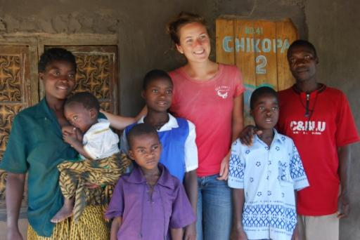 Jo with her Malawi family