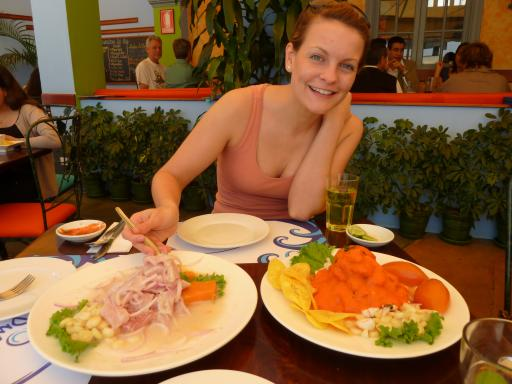 Huge plates of ceviche in Lima