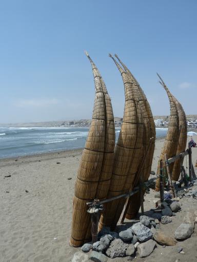 Reed fishing boats at Huanchaco beach