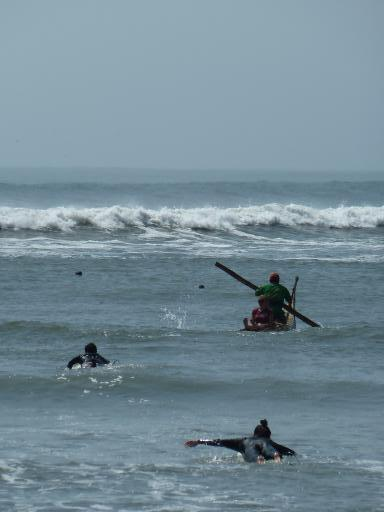 Heading out into the surf