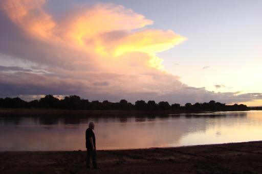 Zonsondergang op de Luangwa