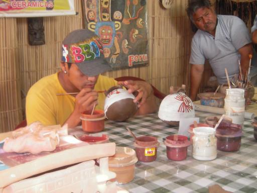 Traditional Peruvian Pottery being painted