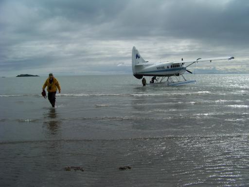 Bill disembarks float plane.jpg