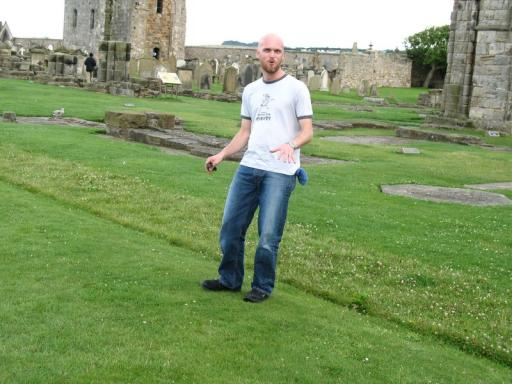 Justin playing around St Andrews Cathedral
