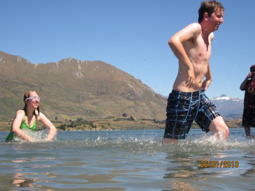 taking a dip in chilly Lake Wanaka