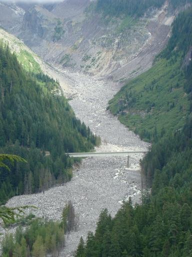 Part way down Mt Rainer- Glacier carves out chanel