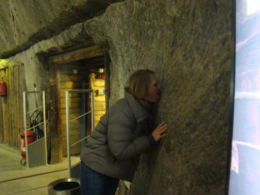 Me licking the salt wall - Yum!