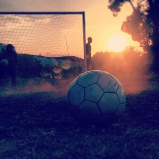 Film still: soccer at sunset